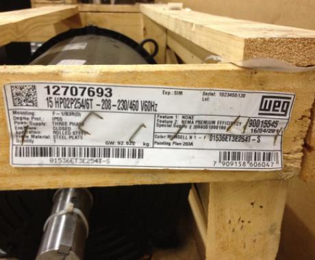 WEG Rolled Steel NEMA Premium Efficiency 15 HP 2P 254/6T 3Ph 208-230/460 V60Hz