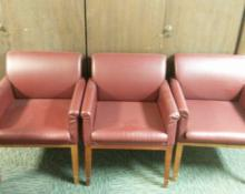 3 Matching Maroon Chairs