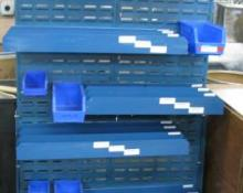 Large customizable steel rail rack, Parts Bin - WITH BINS!