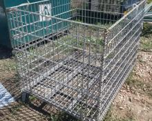 wire mesh sided, metal, foldable cages, collapsing pallet