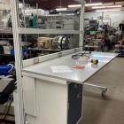 lab bench, extruded aluminum, bench on casters, Waste-Not Recycling